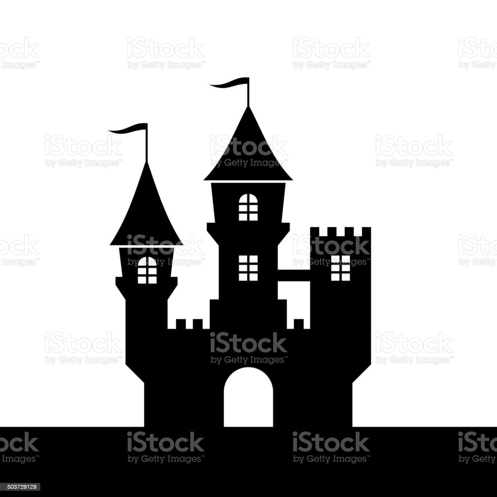 Castle Silhouette Icon on White Background. Vector royalty-free stock vector art
