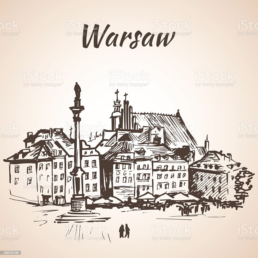 Castle Square - Warsaw, Poland. Sketch. Isolated on white background vector art illustration
