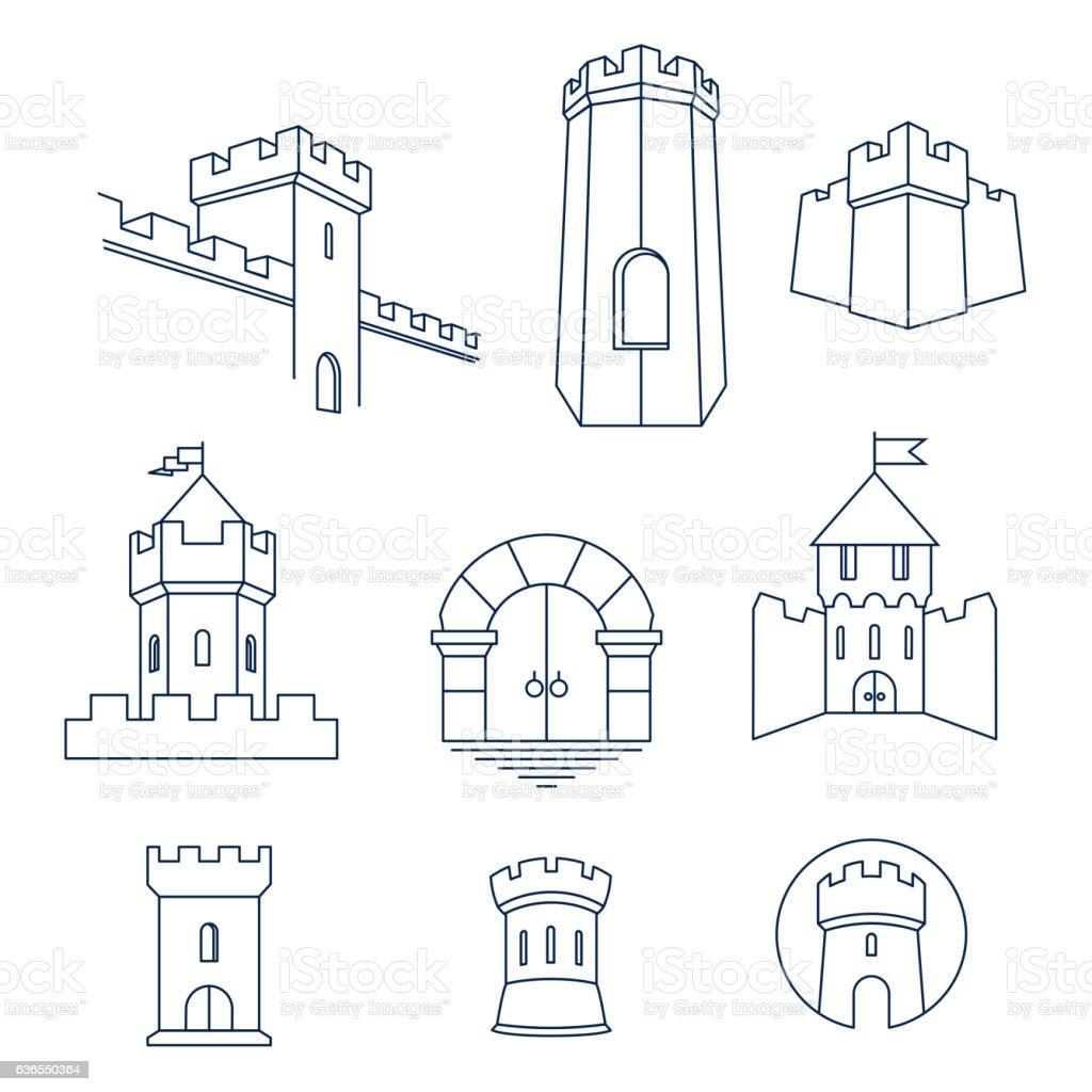 Castle tower, kingdom fortress and castle gate set vector art illustration