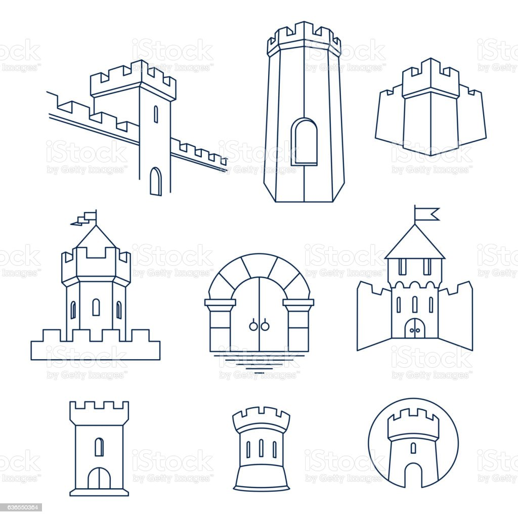 Castle tower, kingdom fortress and castle gate set vector art illustration