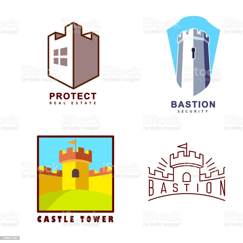 Castle tower logo for guard agency and protect system vector art illustration