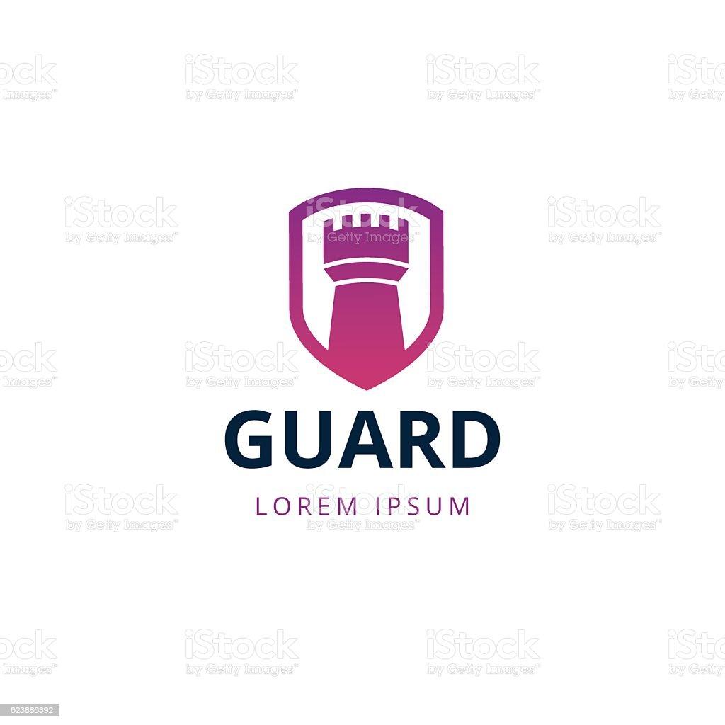 Castle tower security logo template vector art illustration