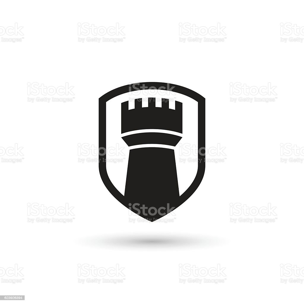 Castle tower shield. Isolated vector icon vector art illustration