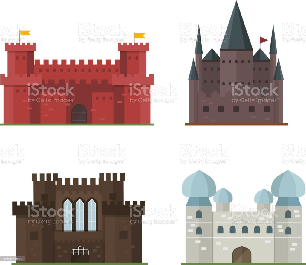 Castle tower vector building vector art illustration