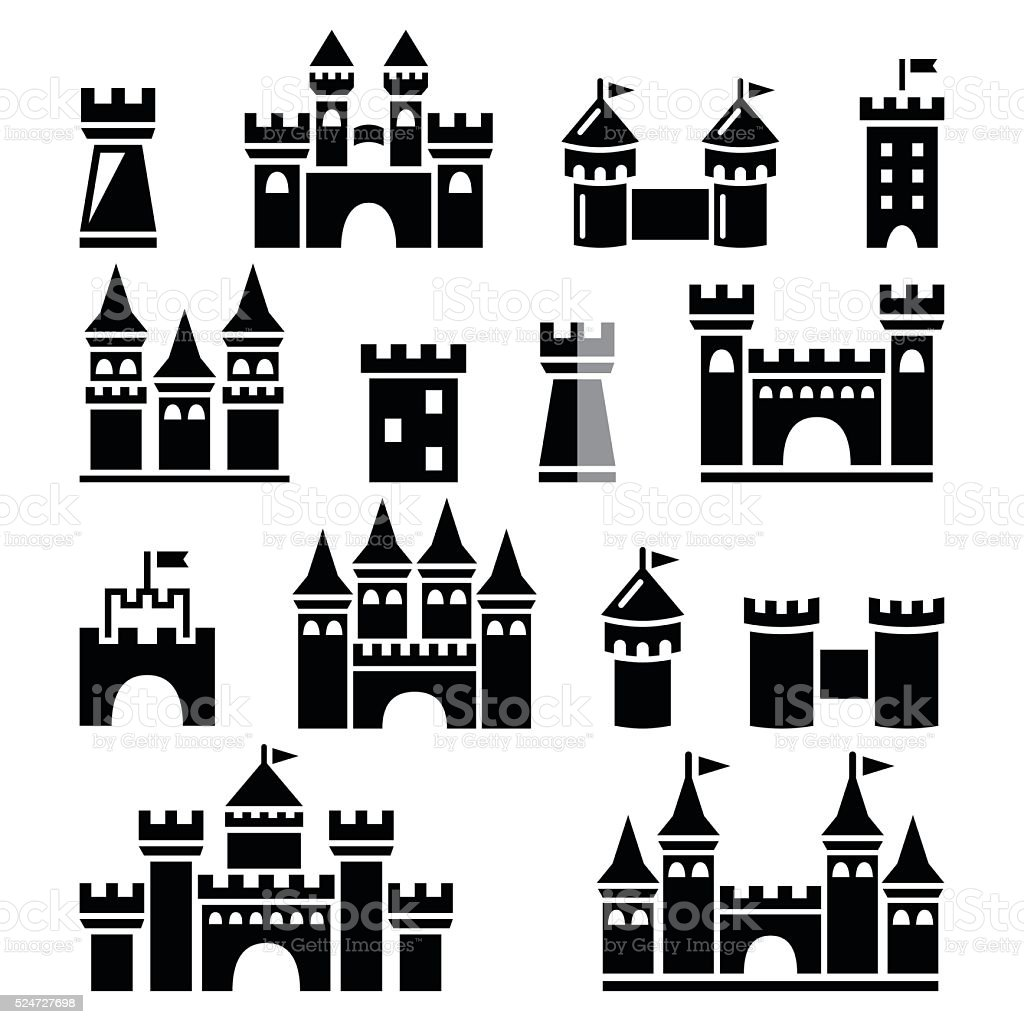 Castle, towers vector icons set vector art illustration