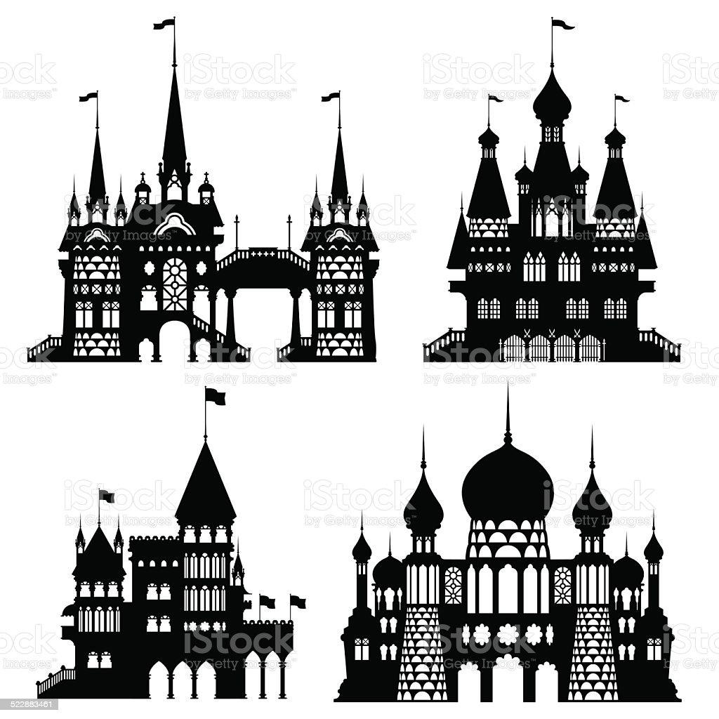 Castle Vintage Vector Set vector art illustration
