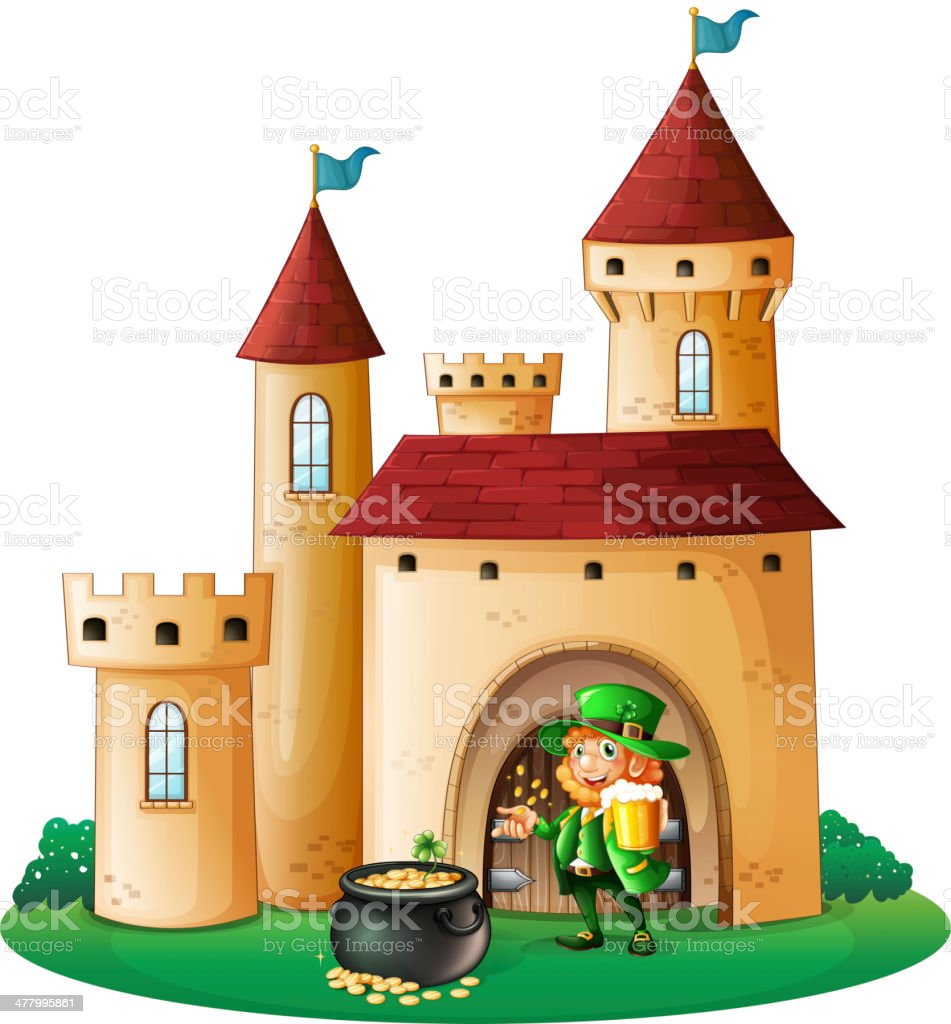 Castle with an old man and pot of coin royalty-free stock vector art