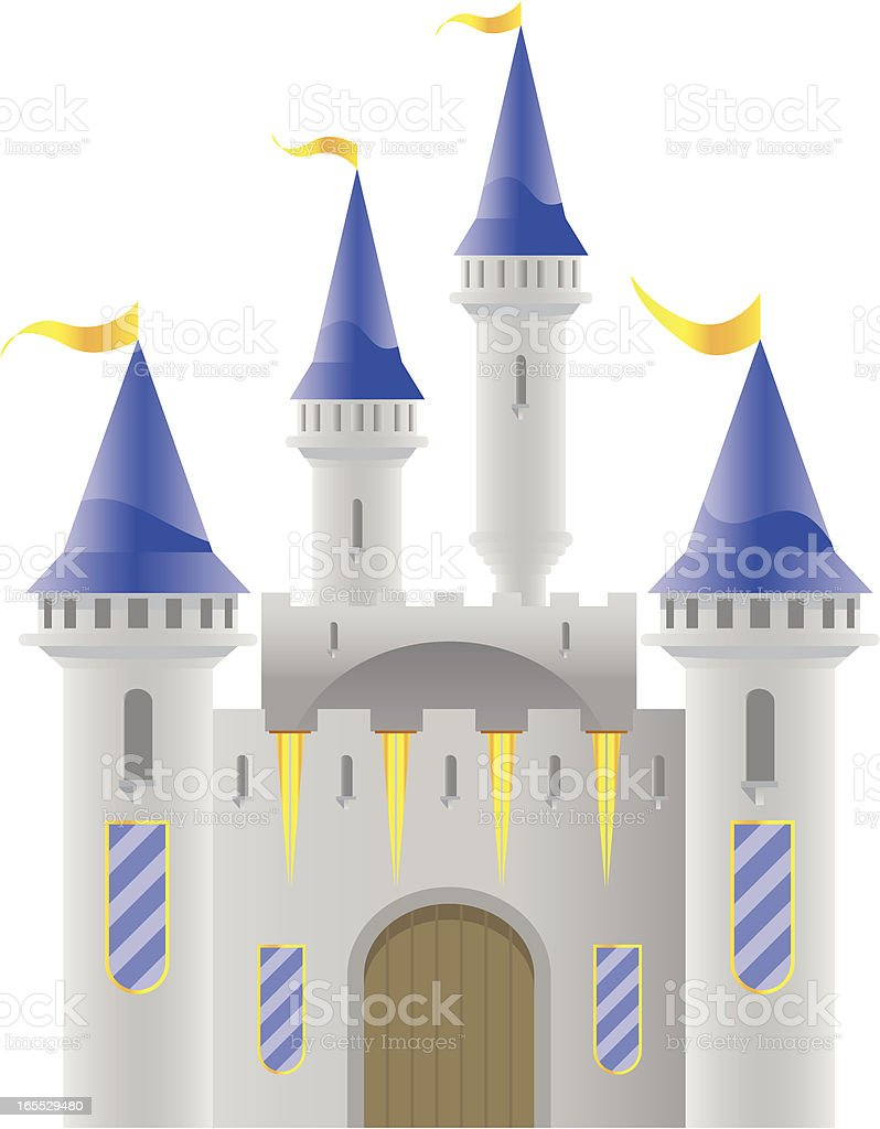 Castle with blue roof tops vector art illustration