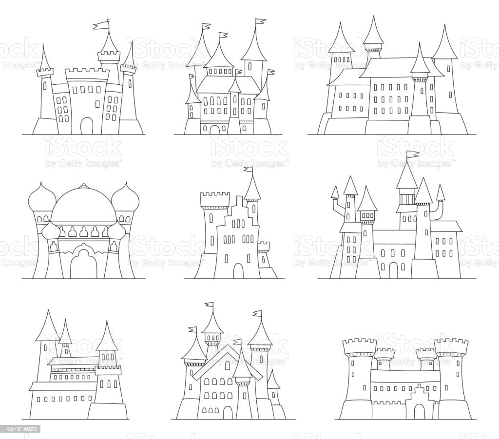 Castles and fortresses flat design vector icons. Set of 9 illustrations of ruins, mansions, palaces, villas and other medieval buildings vector art illustration