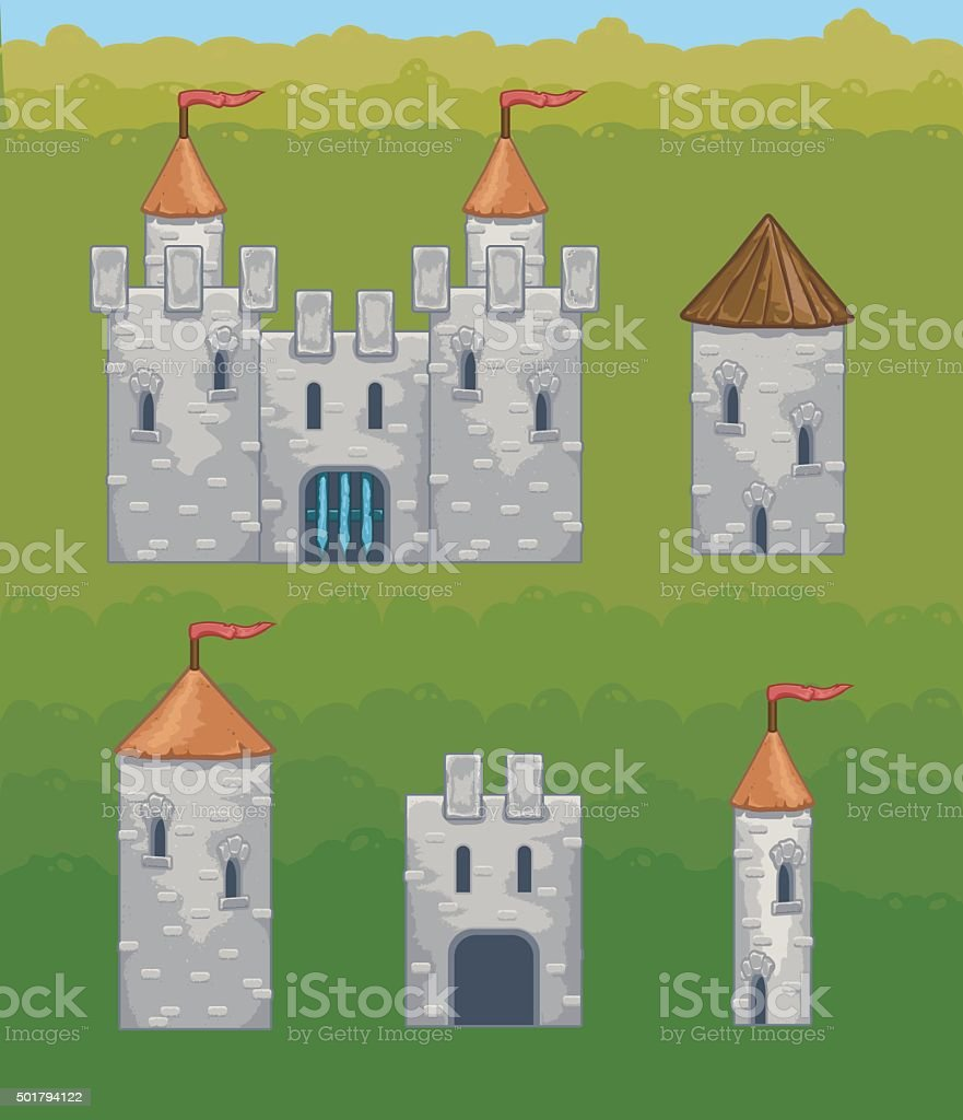 Castles and fortresses vector icons vector art illustration