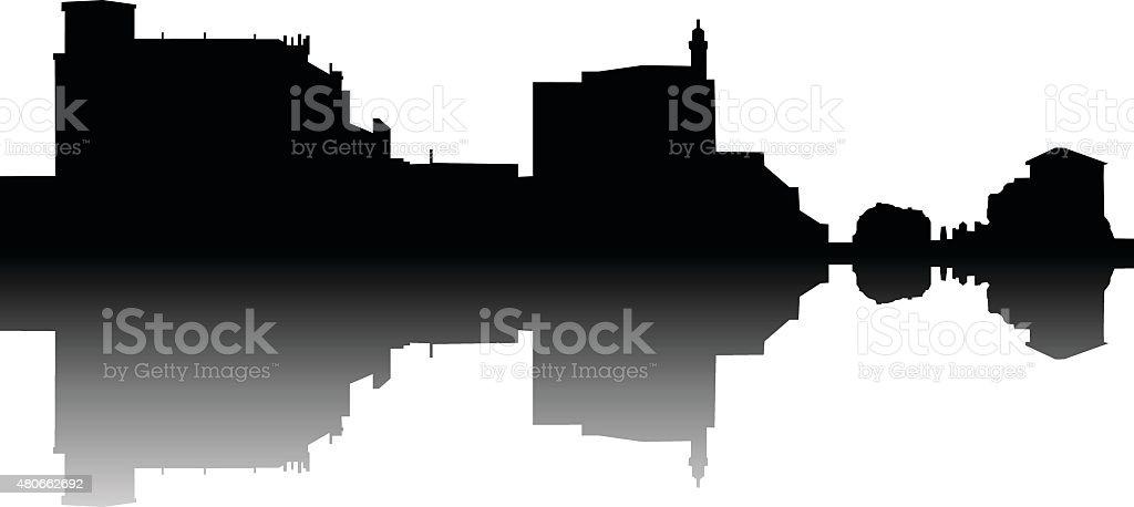 Castro Urdiales skyline vector vector art illustration
