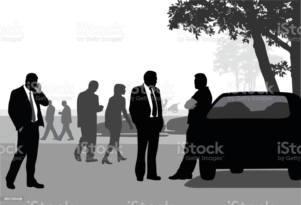 Casual Business Day Talking In The Park vector art illustration