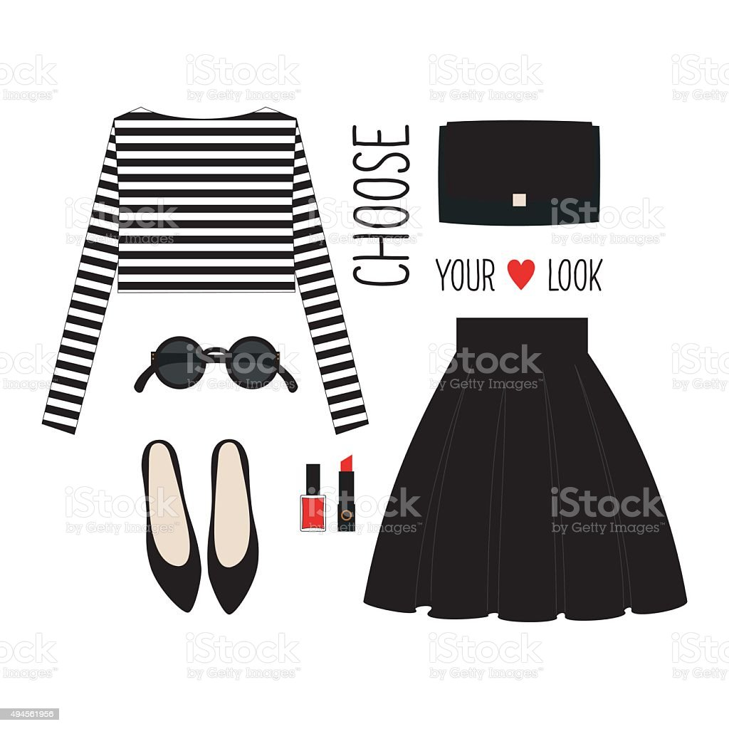 Casual look with cropped singlet, skirt, black shoes and accessories. vector art illustration