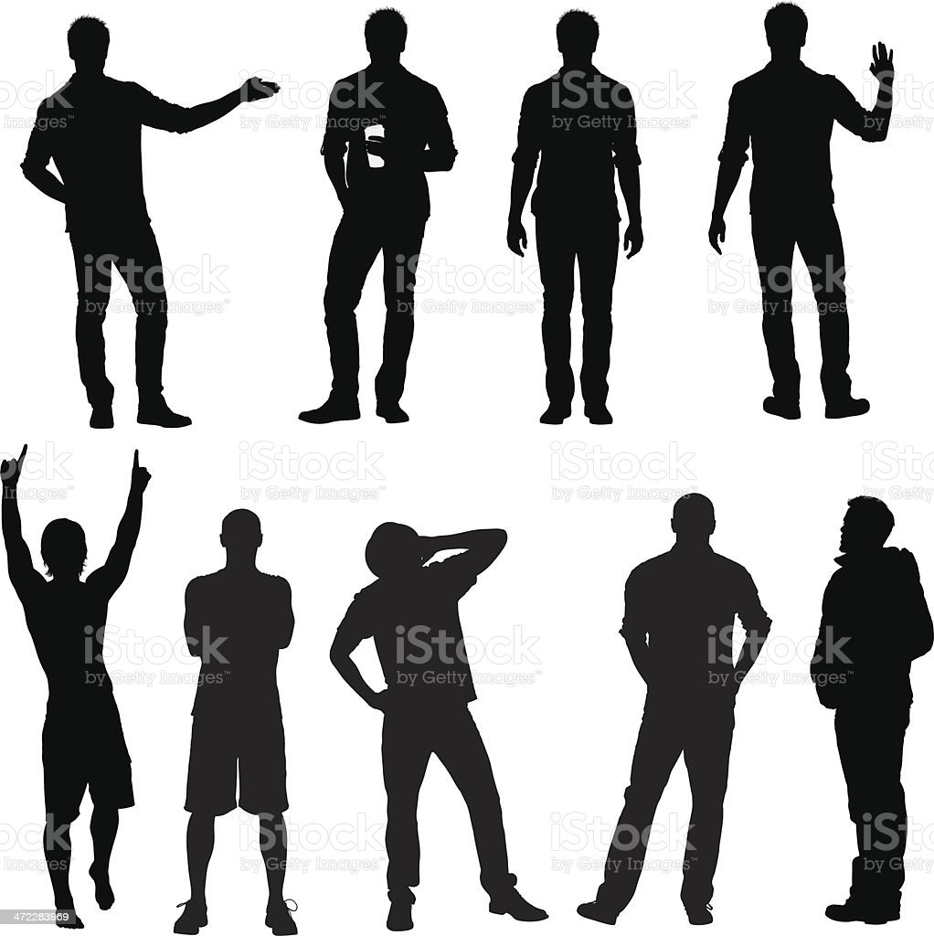 Casual male vector silhouettes vector art illustration