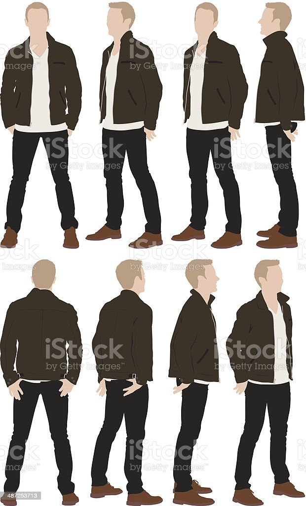Casual man standing vector art illustration