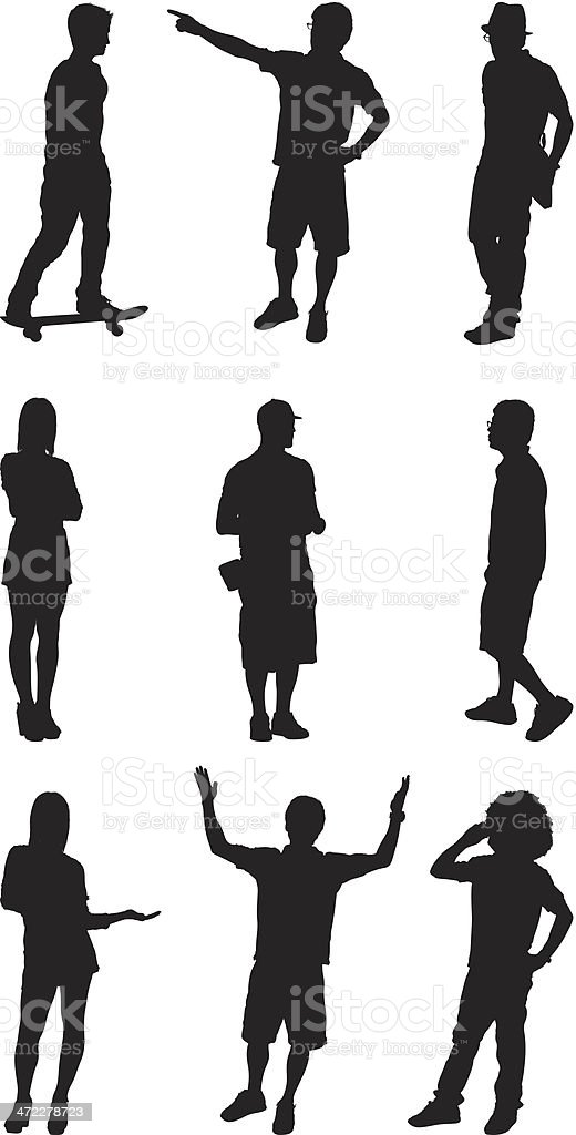 Casual men and women standing poses vector art illustration