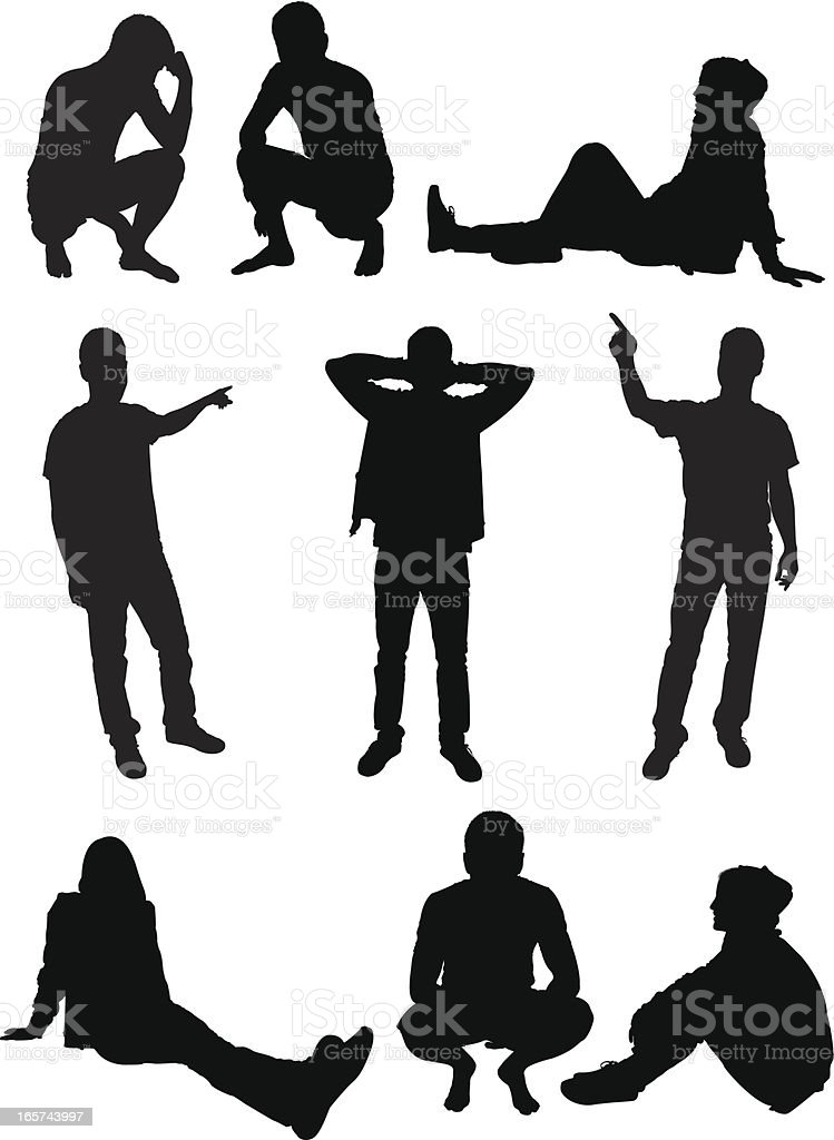 Casual men hanging out royalty-free stock vector art