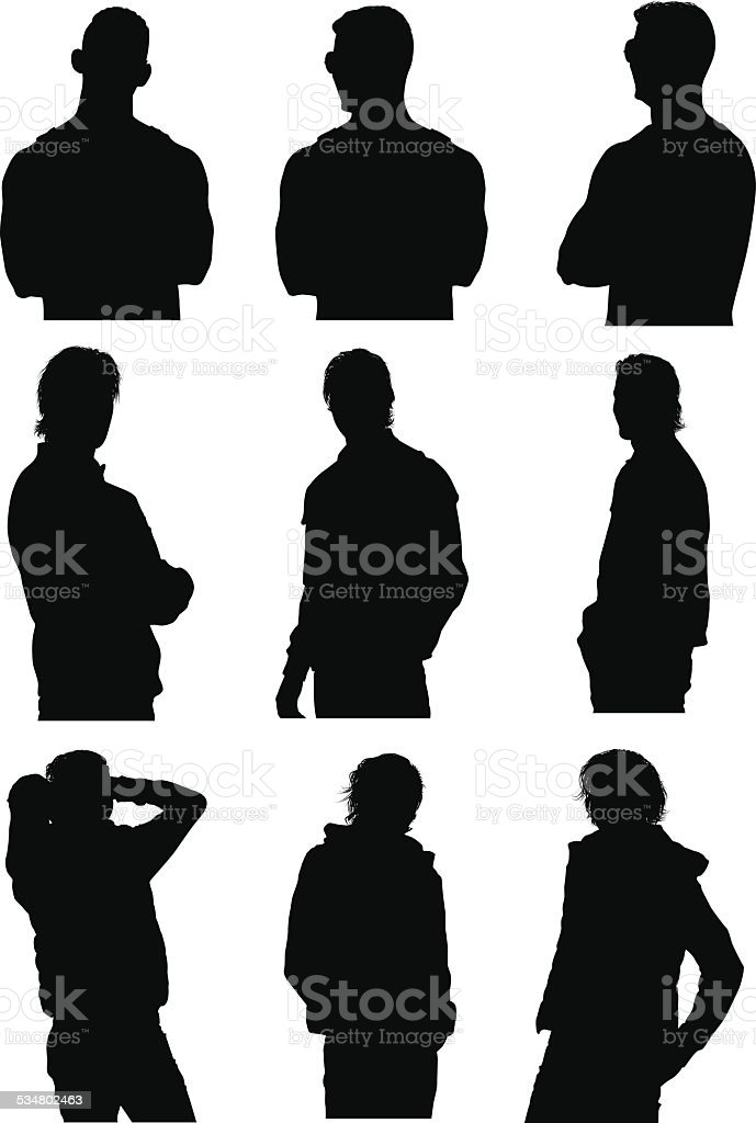 Casual men in various actions vector art illustration