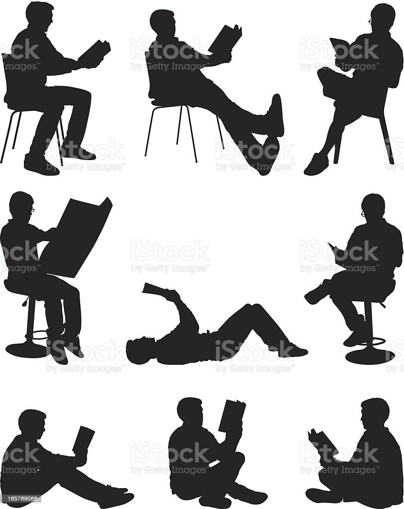 Casual men reading books and newspaper royalty-free stock vector art