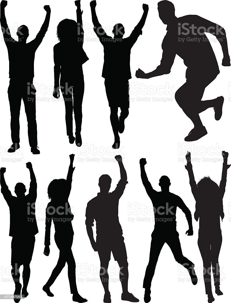 Casual people cheering vector art illustration