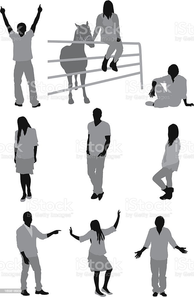 Casual people in different poses vector art illustration