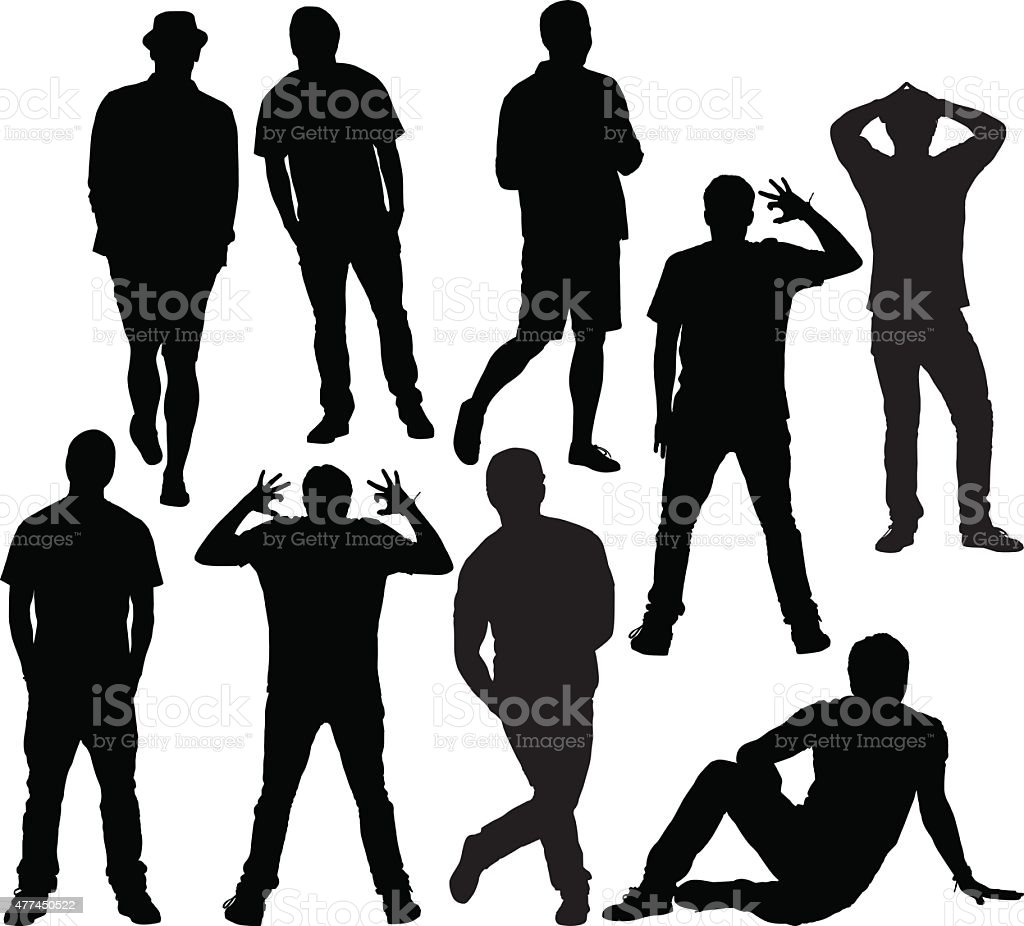 Casual people in various actions vector art illustration