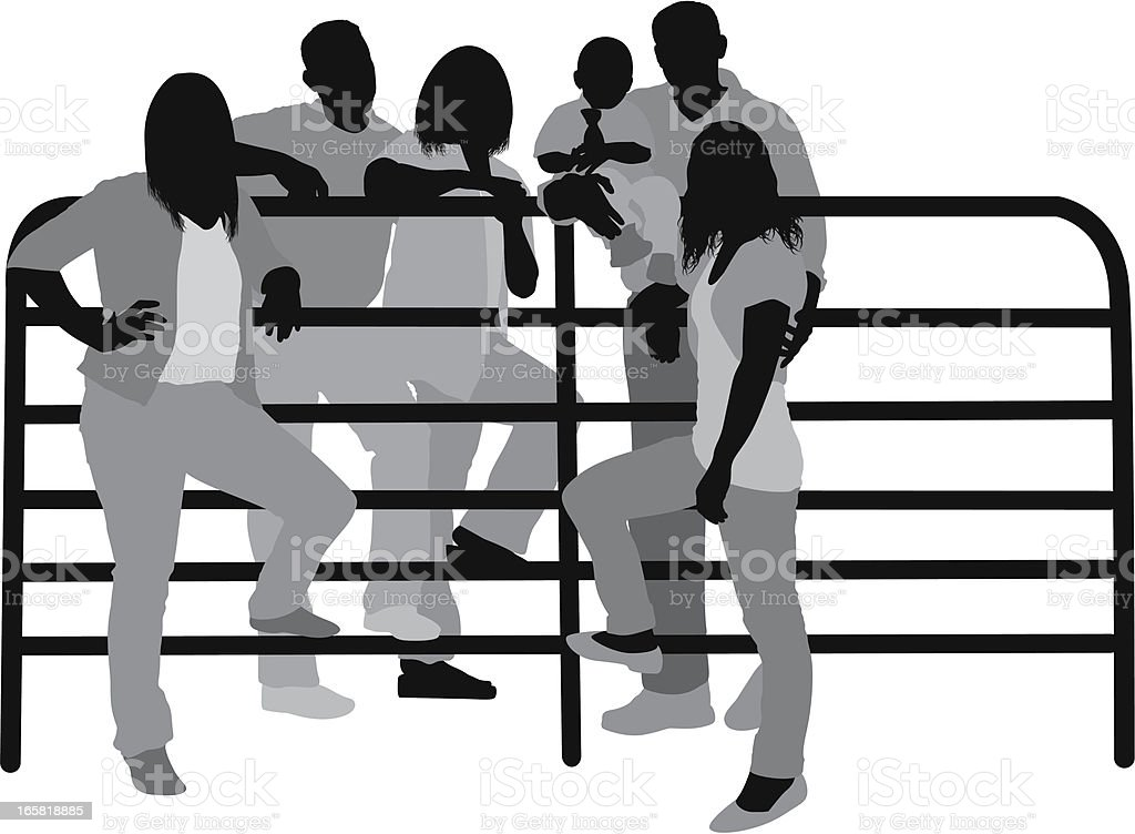 Casual people near a railing royalty-free stock vector art