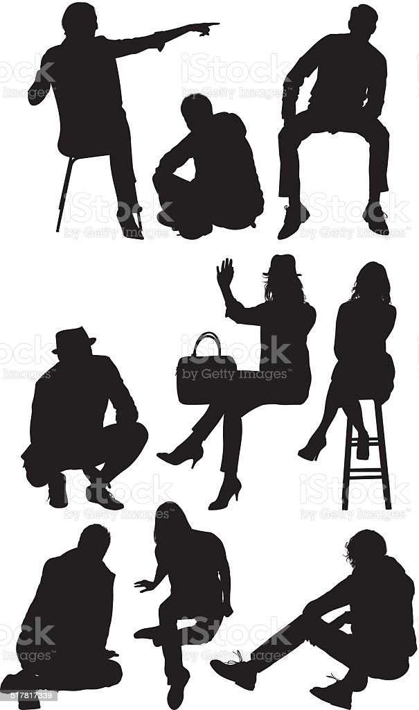 Casual people sitting vector art illustration
