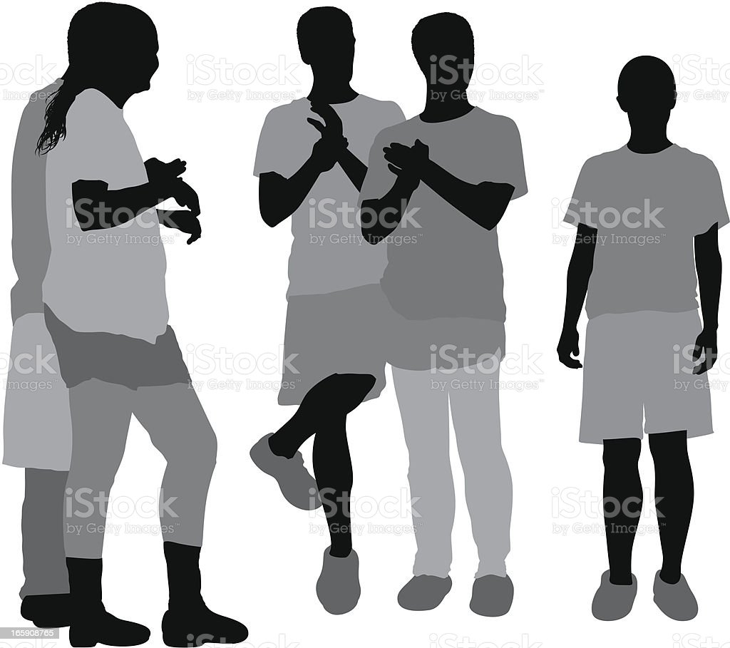 Casual people standing together royalty-free stock vector art