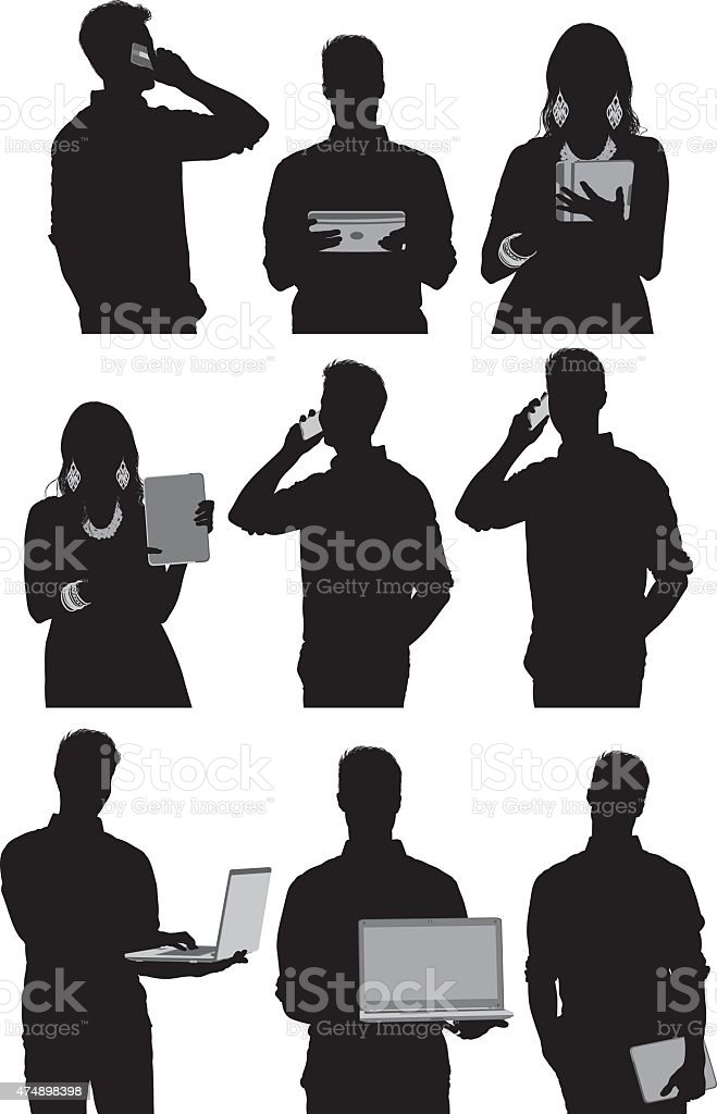 Casual people using technology vector art illustration