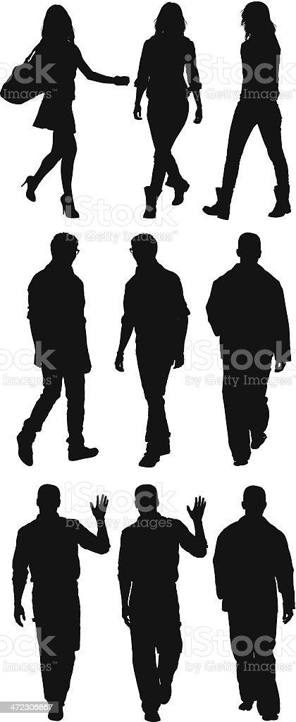 Casual people walking royalty-free stock vector art