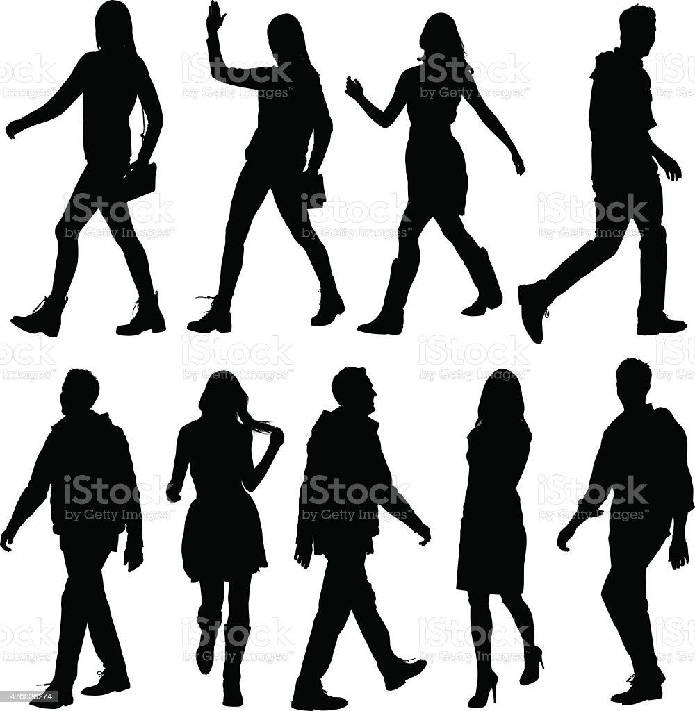 Casual people walking vector art illustration