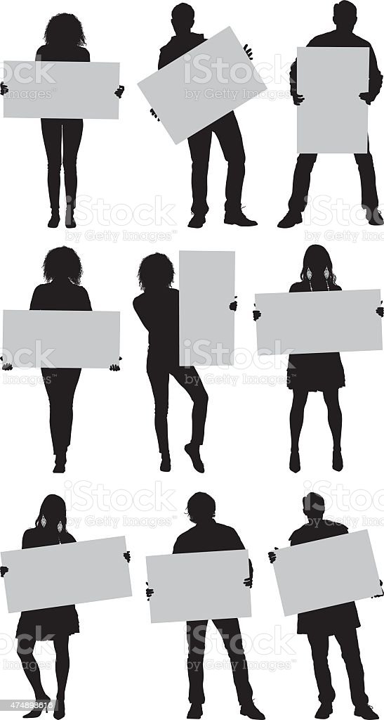 Casual people with placard vector art illustration