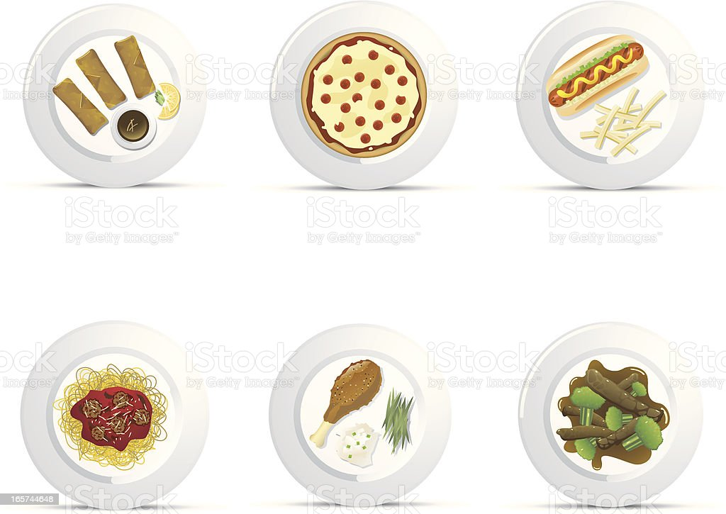 Casual Plated Food Icons royalty-free stock vector art