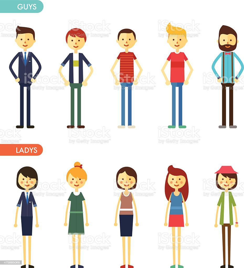 casual set characters for use in design vector art illustration