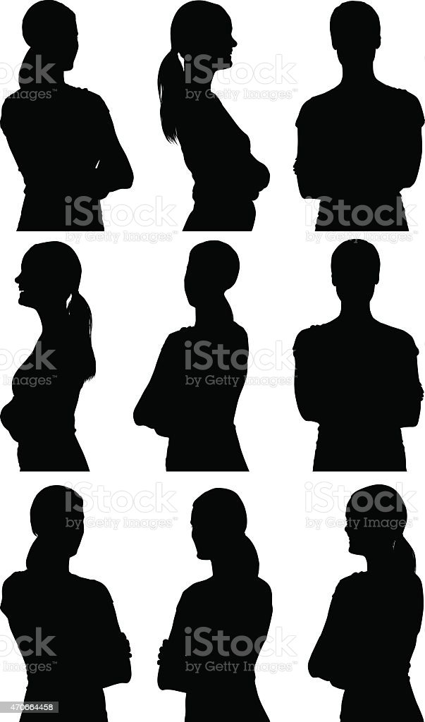 Casual woman standing arms crossed vector art illustration