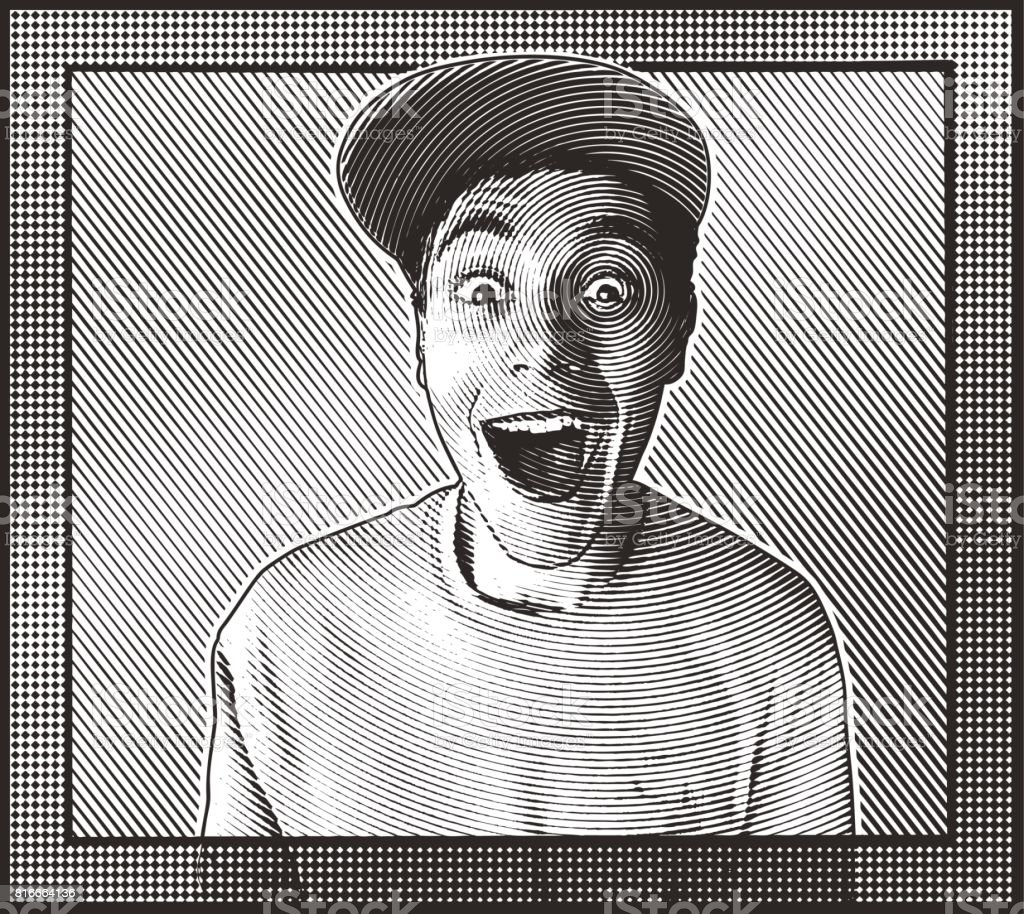 Casual young man with a funny surprised facial expression vector art illustration