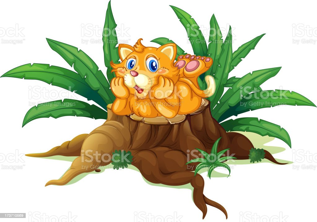 Cat above a stump with leaves royalty-free stock vector art