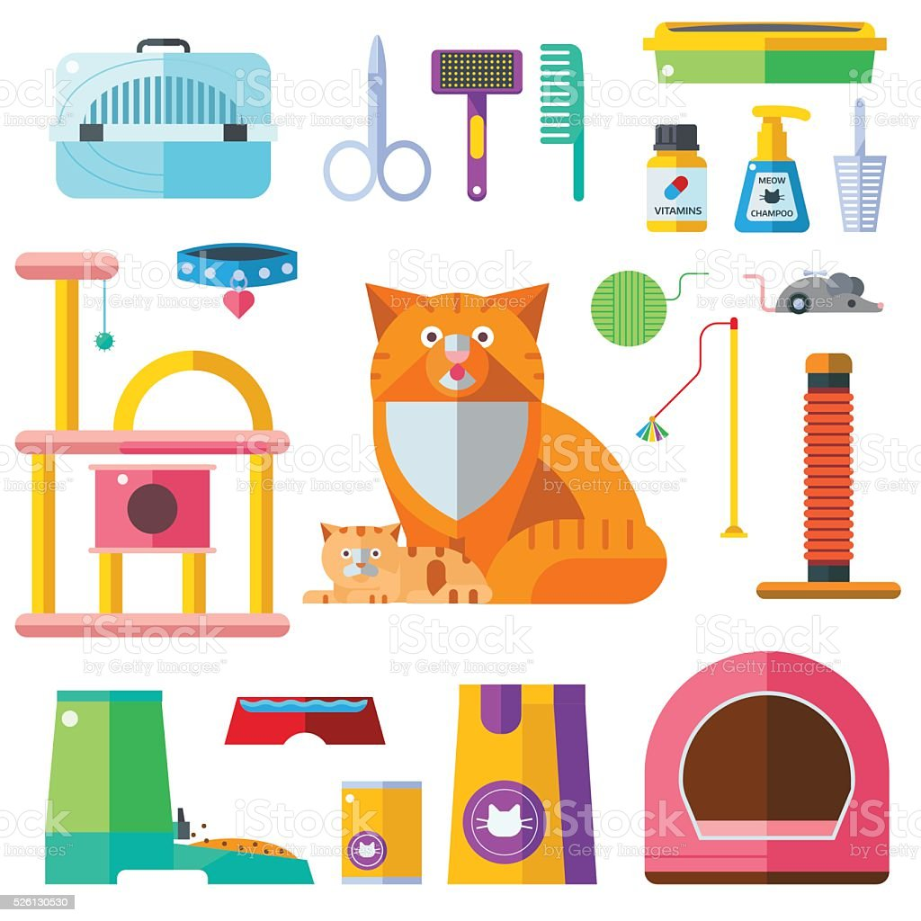 Cat accessory vector icons vector art illustration