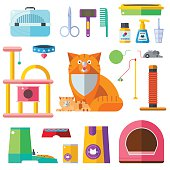 Cat accessory vector icons