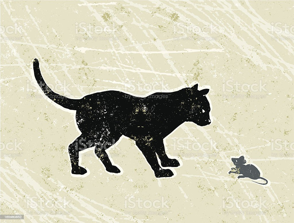 Cat and a mouse having a confrontation vector art illustration
