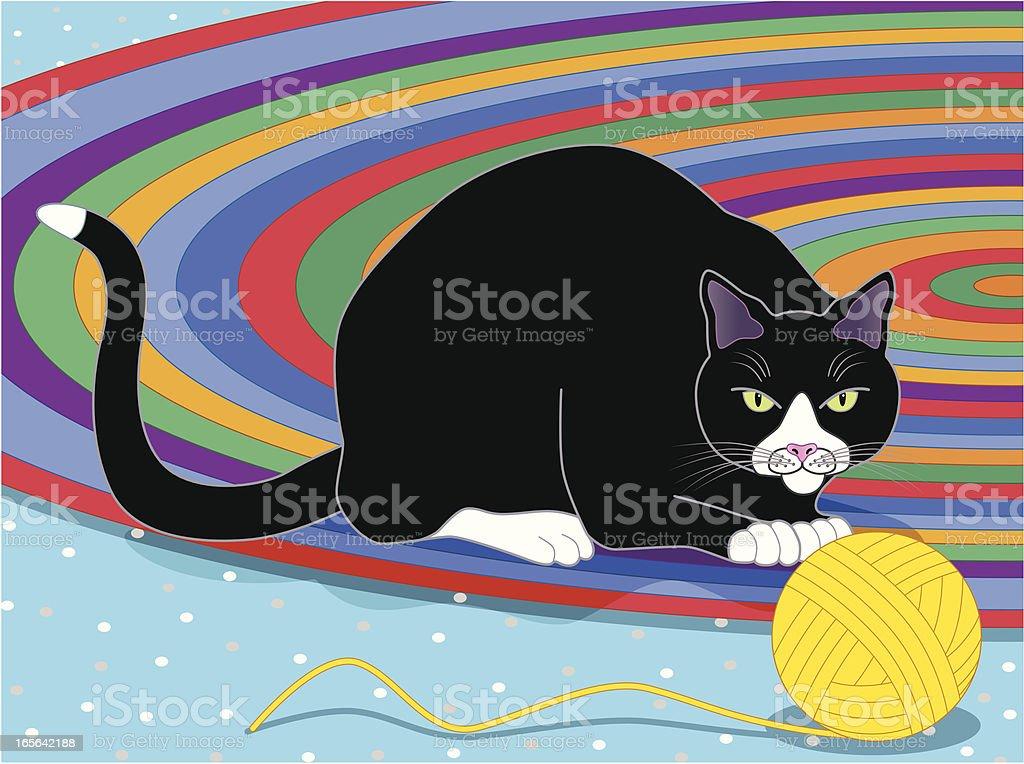 cat and ball of yarn vector art illustration