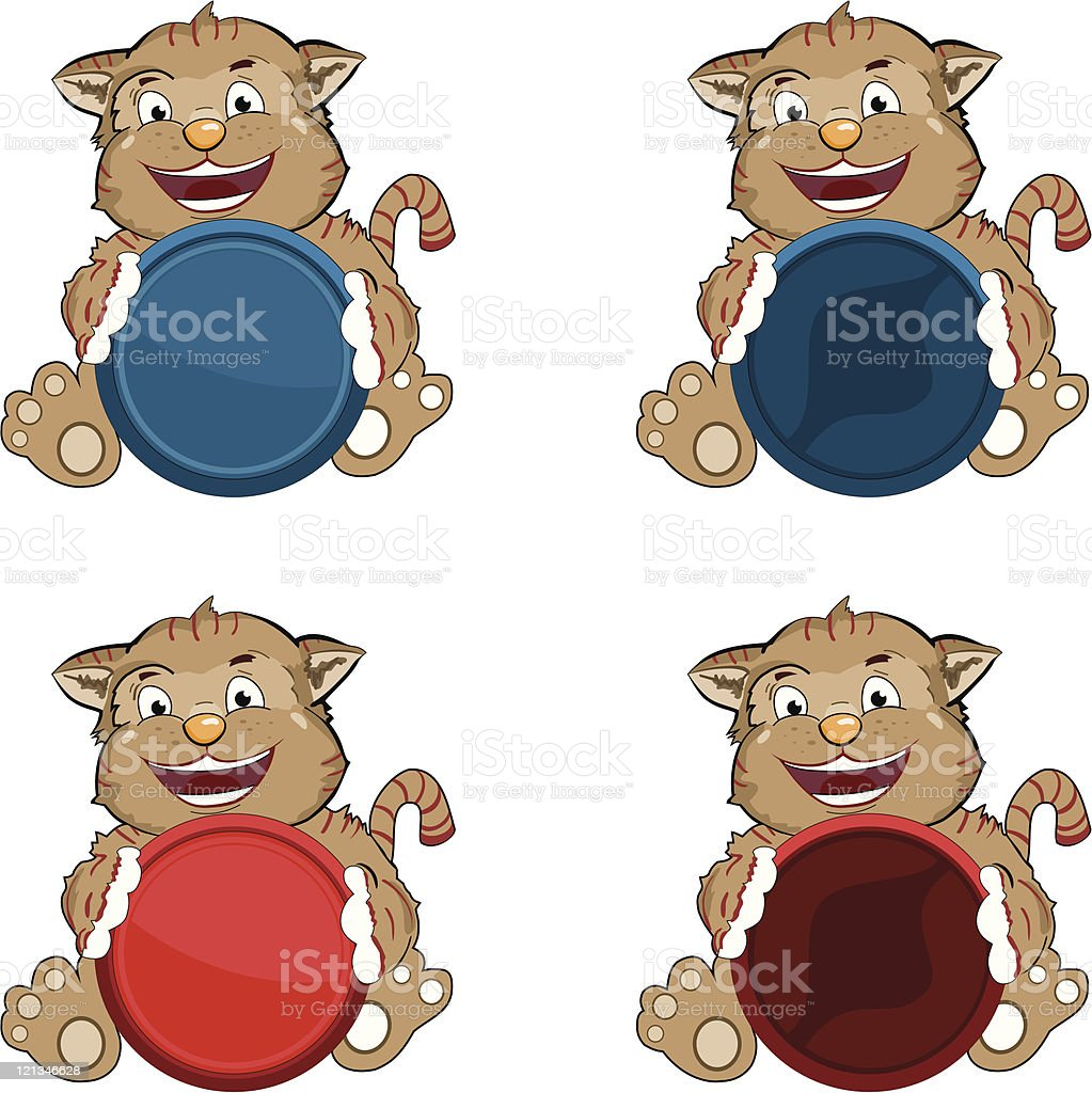 Cat and button vector art illustration