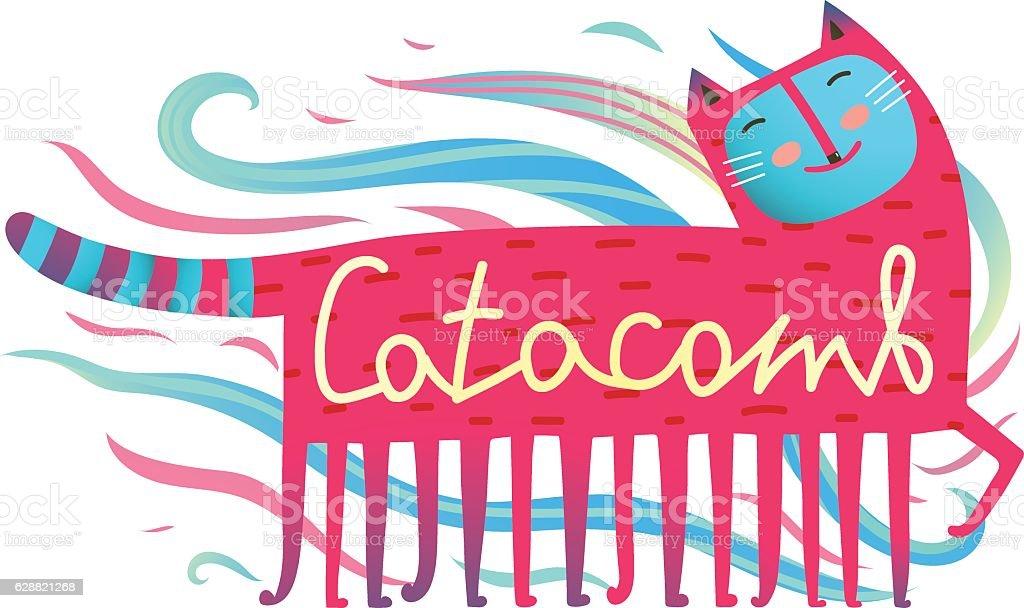 Cat and comb humorous cartoon design catacomb lettering vector art illustration