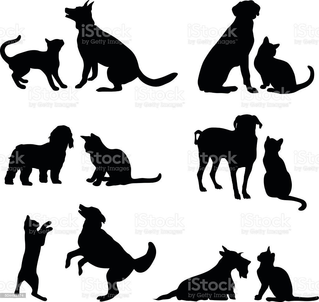 Cat And Dog Friends vector art illustration
