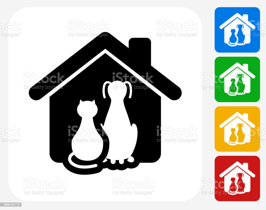 Cat and Dog Icon Flat Graphic Design vector art illustration