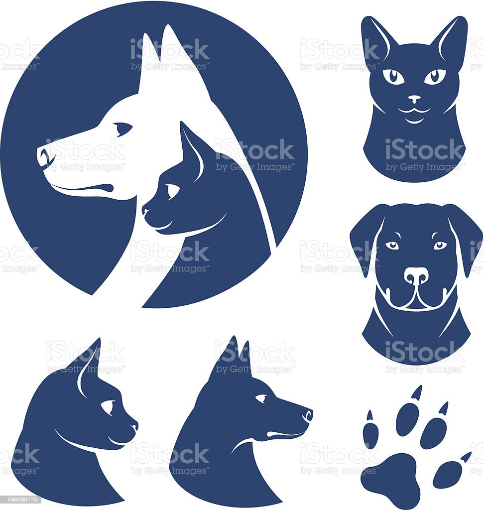 Cat and dog symbols vector art illustration