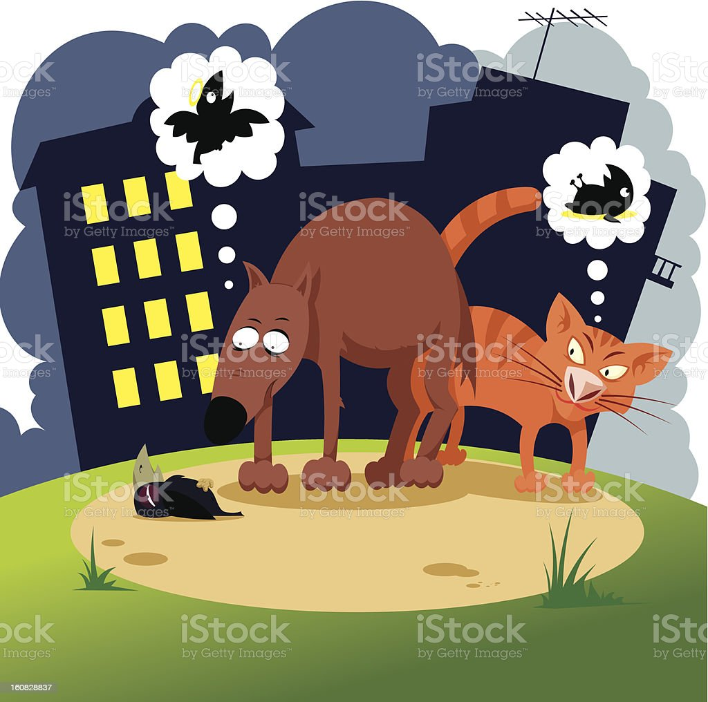 Cat and Dog Thinking About the Bird Dying vector art illustration