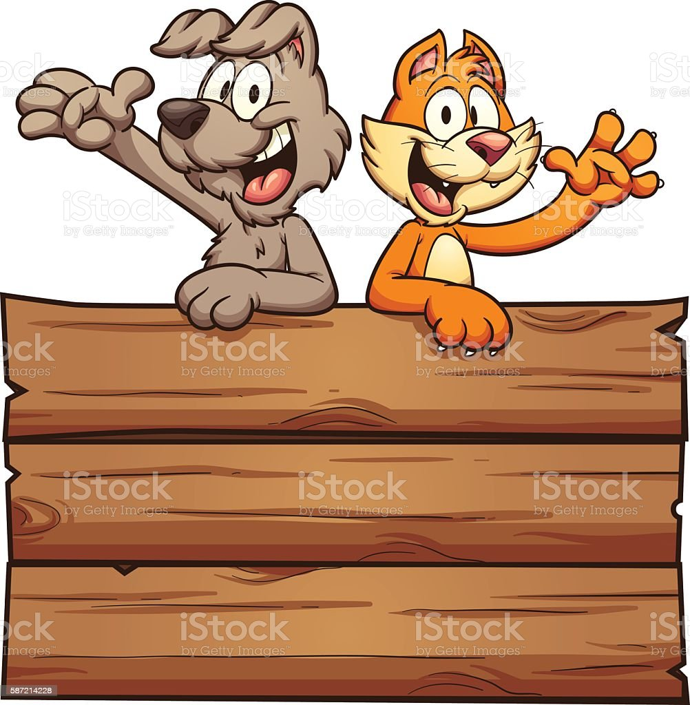 Cat and dog vector art illustration