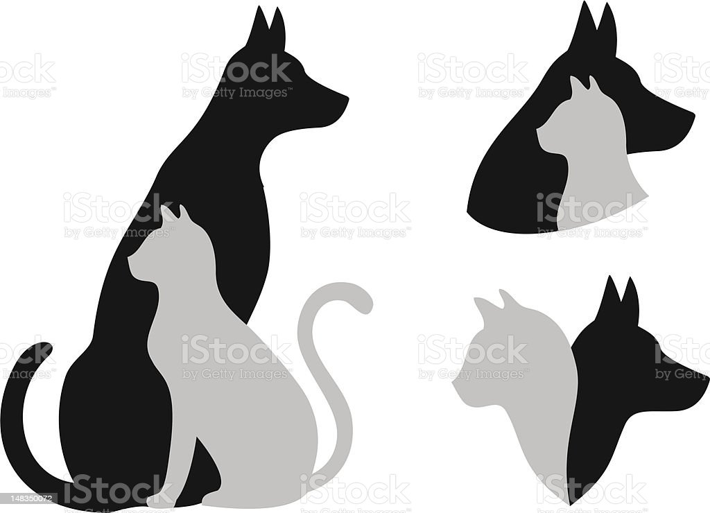 cat and dog, vector vector art illustration